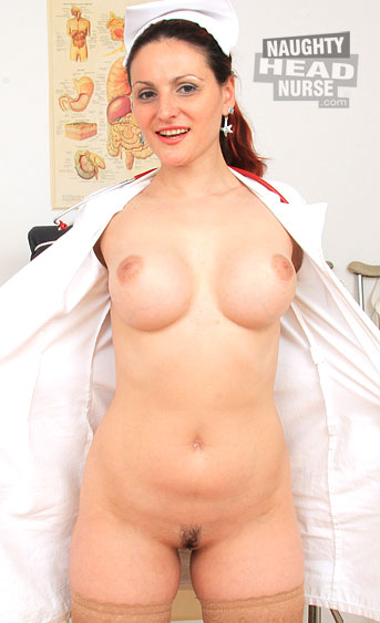 The horny redhead milf Beatrix teases and fucks her shaved pink hole in the inquiry chair while wearing sexy white uniforms and stockings