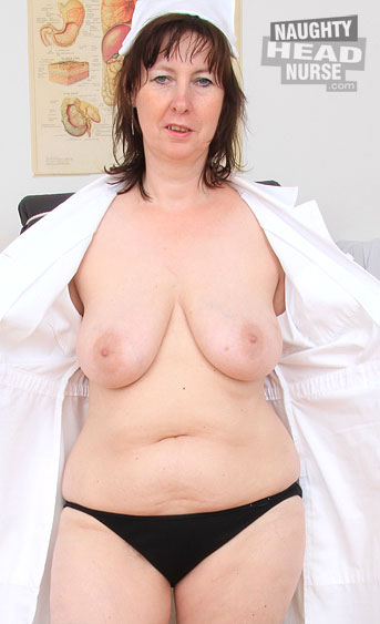 Teasing, a little posing, pussy gape and a lot of stirring self pleasing action done by this horny brunette mature head nurse called Blanka