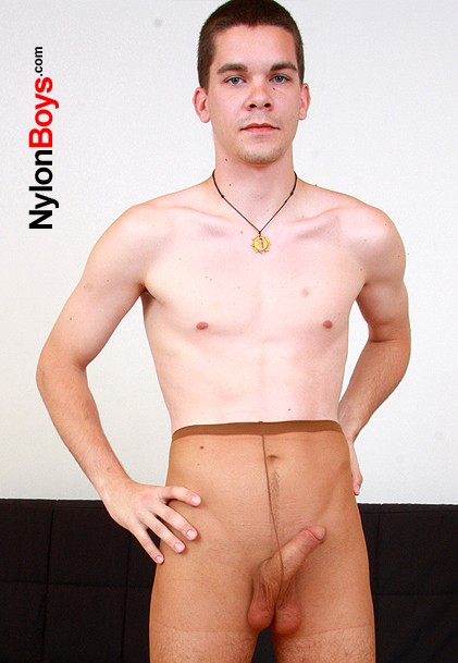 watch amateur boy Carl wearing nylon pantyhose and jerking off