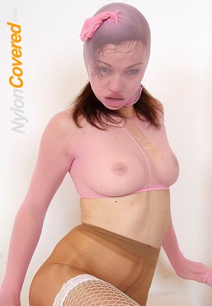 Emma Pearl nylon face and nylon tights legs fetish
