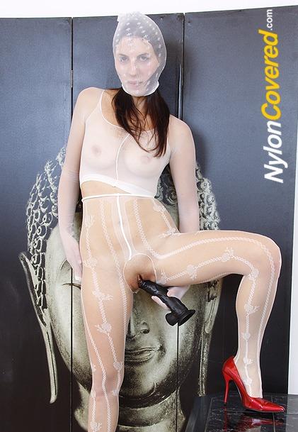 Fernanda Martins nylon face and nylon tights legs fetish