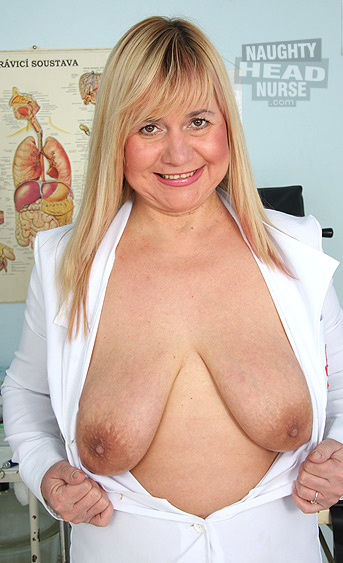 Big tits mom blonde Milf working as nurse in gyno clinic. She loves stuffing her extremly hairy pussy with gyno tools.