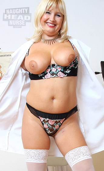 Mature mom with natural big boobs unbuttons her nurse uniform to start a striptease then she plays with her aged pussy using various gyno instruments
