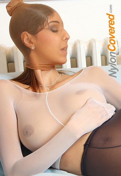 Kitty Jane nylon face and nylon tights legs fetish