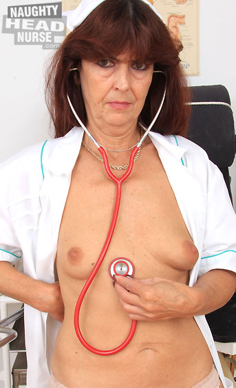 A hot mature nurse called Lada fucked that hairy cunt of hers with a thick dildo in the inquiry chair, while wearing a sexy nurse uniform