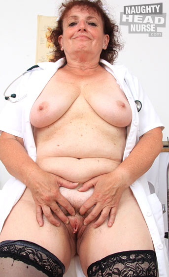 Amazing solo action with our lovely brunette granny Marsa, who fucks her hairy cunt with a speculum in sexy nurse uniforms