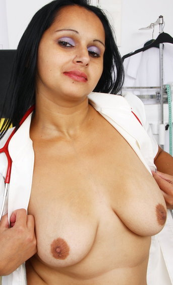 Relentless chubby babe stuffing her pussy hard with her massive dildo in the nurse uniform