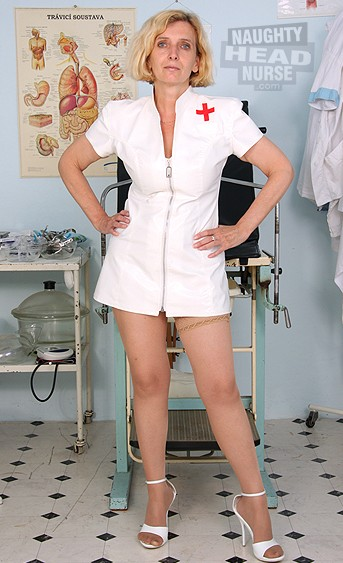 Mature fetish uniform nurse Tamara speculum dildo sex