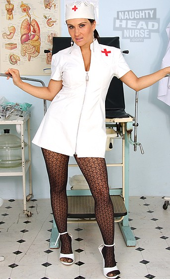 Fucking hot czehc mom wears latex nurse uniform and stuffing her pussy with medical tools