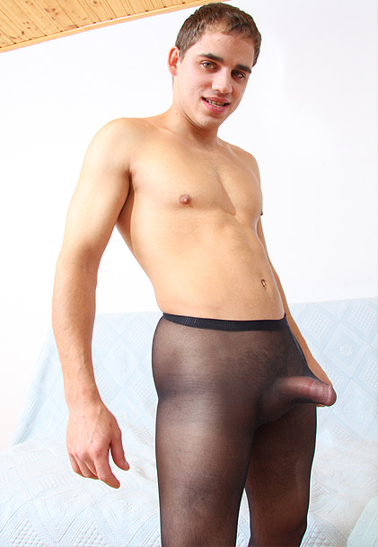 watch amateur boy William wearing nylon pantyhose and jerking off