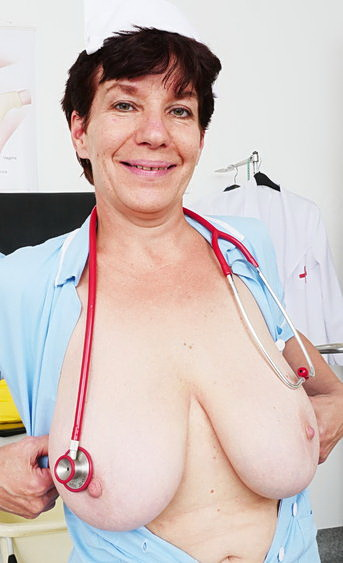 Naughty head nurse zupa is playing a dirty game with tools and that ragged old pussy she has between her legs